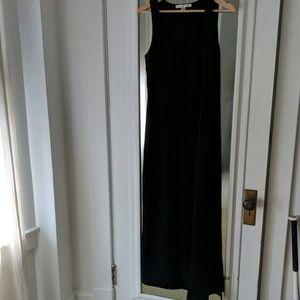Boston Proper Black Nylon Maxi Dress Side Slit